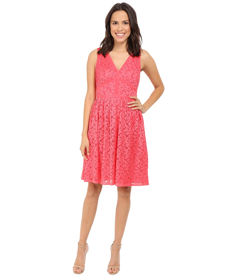 Maggy London Pleat Floral Lace Fit and Flare Tulip Red Womens Dress