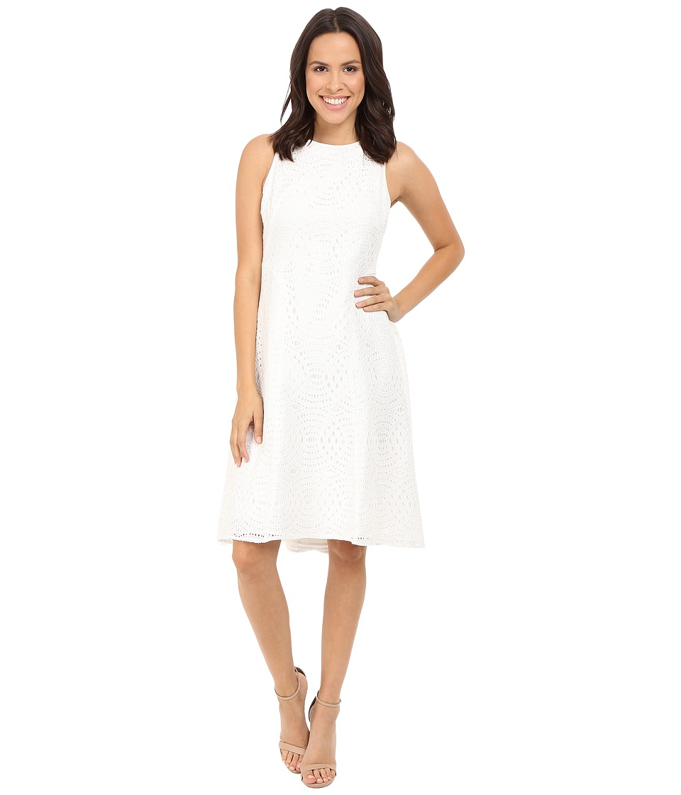 Maggy London Circle Interlocking Lace Fit and Flare White Womens Dress