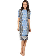 Maggy London - Ikat Panel Border Jersey Sheath with Elbow Sleeve