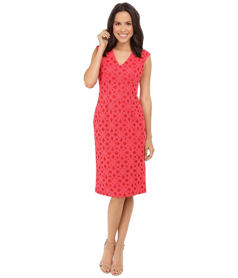 Maggy London Pique Burnout Novelty Sheath Tulip Red Womens Dress