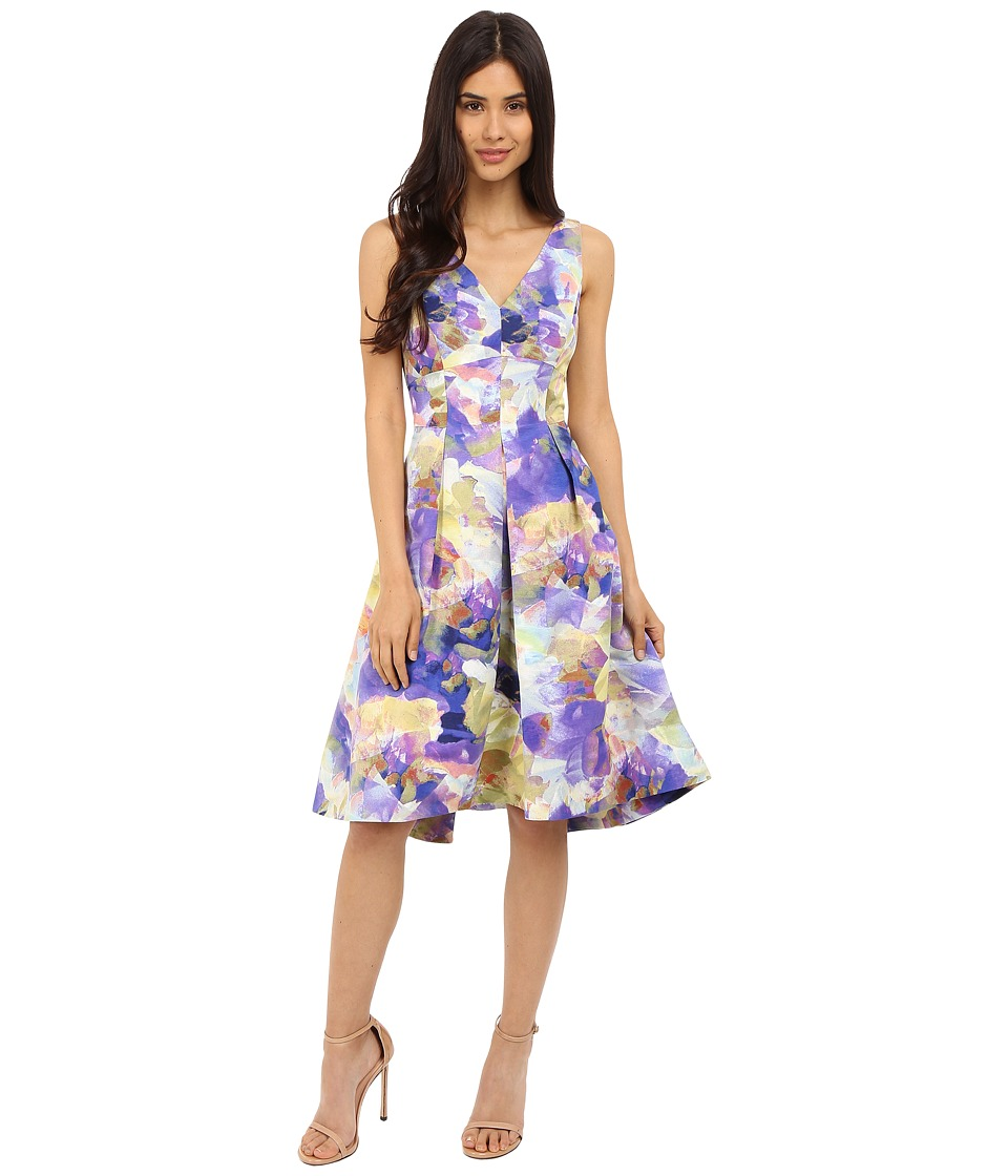 Maggy London Rainbow Haze Floral Faille Fit and Flare Purple Lime Womens Dress