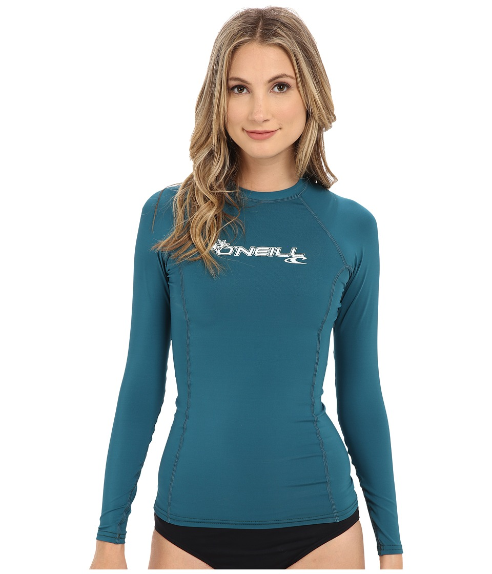 ONeill Basic Skins L/S Crew Deep Teal Womens Swimwear