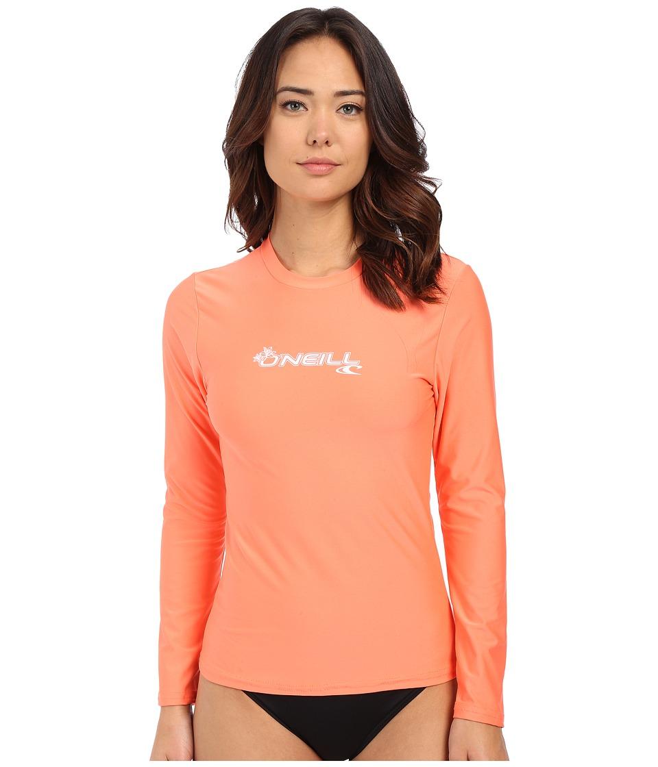 ONeill Basic Skins Long Sleeve Rash Tee Light Grapefruit Womens Swimwear