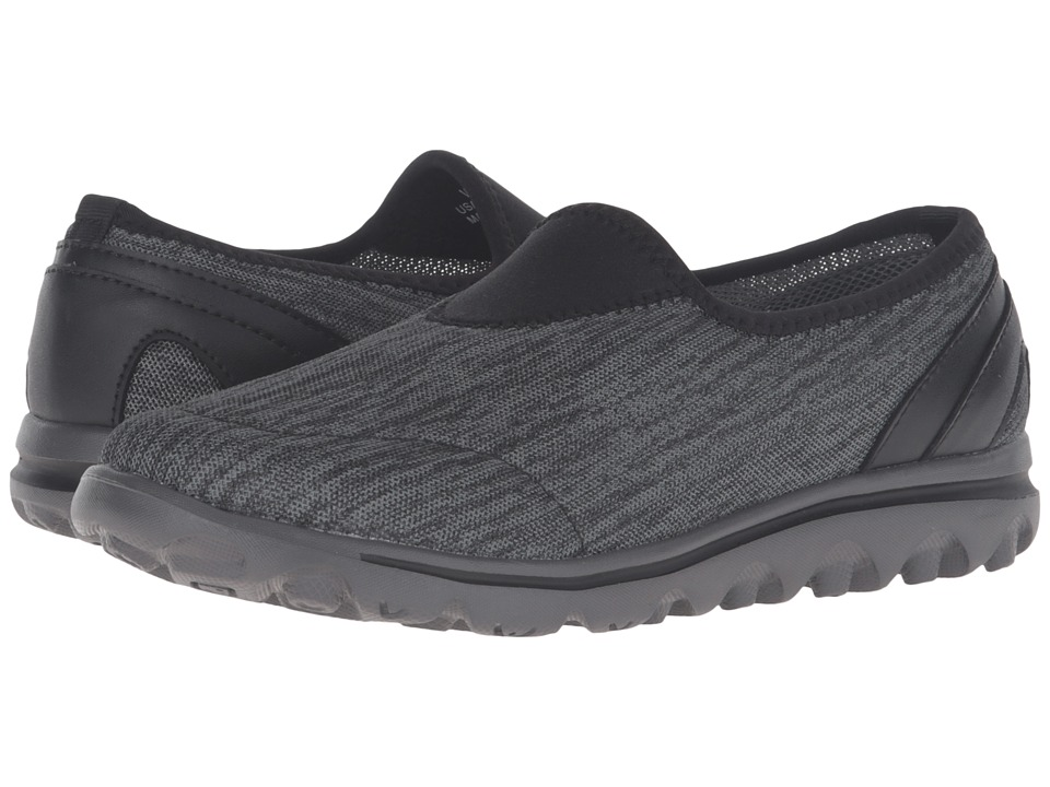 Propet TravelActiv Slip-On (Black/Grey Heather) Women