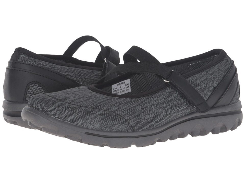 Propet TravelActiv Mary Jane (Black/Grey Heather) Women