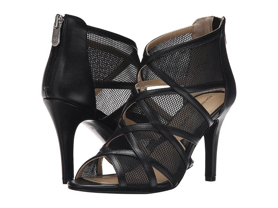 Adrienne Vittadini Garo Black Nappa Mesh High Heels