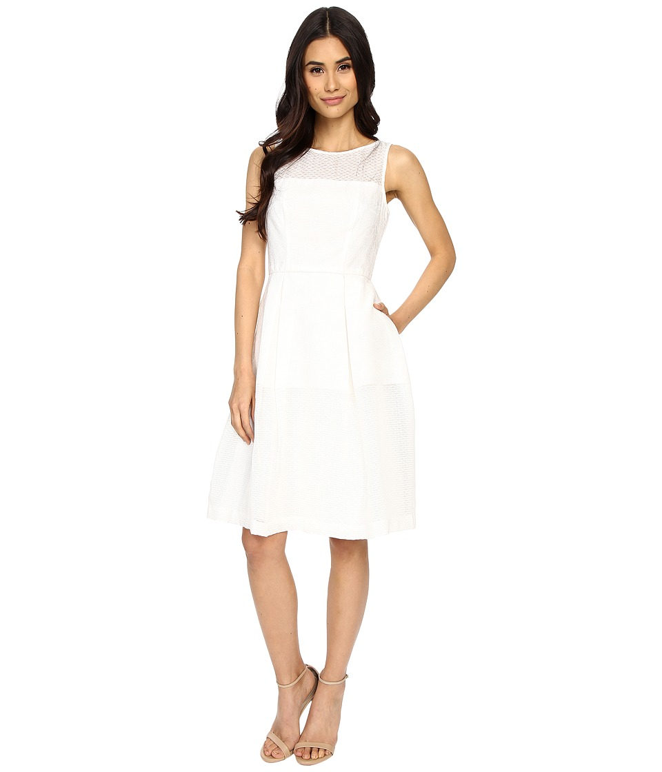 Maggy London Jacquard Lino Stripe Fit and Flare Dress White Womens Dress
