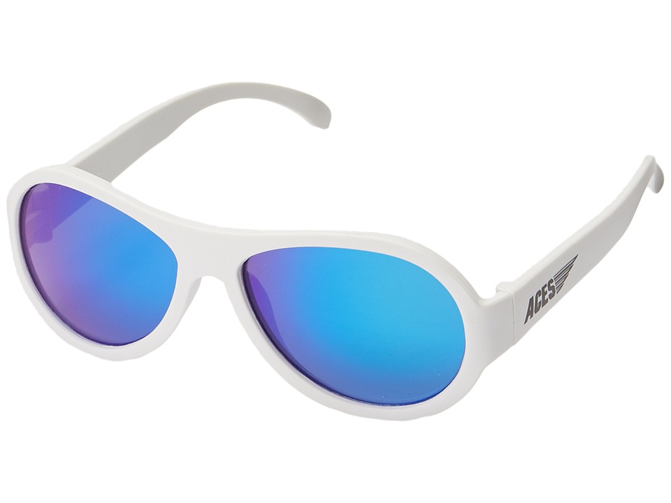 Babiators Aces Aviators Fueled by Wicked with Blue Lenses 7 14 Years White Athletic Performance Sport Sunglasses