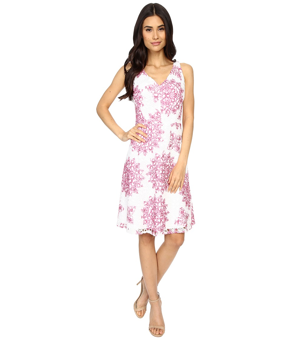 Maggy London Star Medallion Printed Lace Fit and Flare Dress White/Party Pink Womens Dress