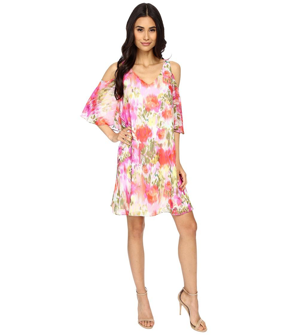 Maggy London Brushed Flower Chiffon w/ Cold Shoulder Dress Pink Womens Dress