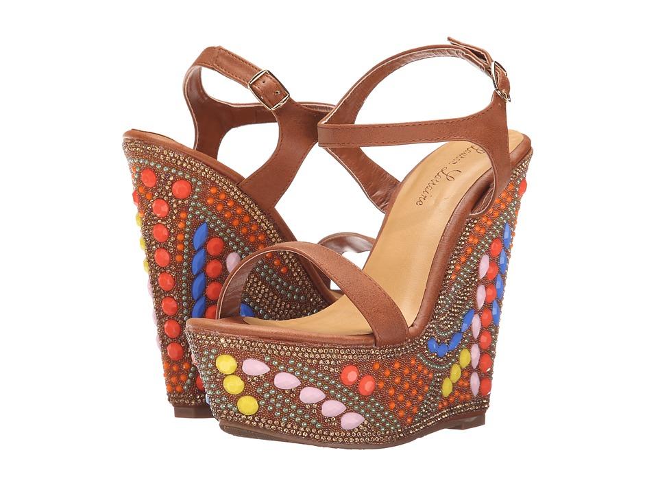Lauren Lorraine Paris Brown Multi Womens Wedge Shoes