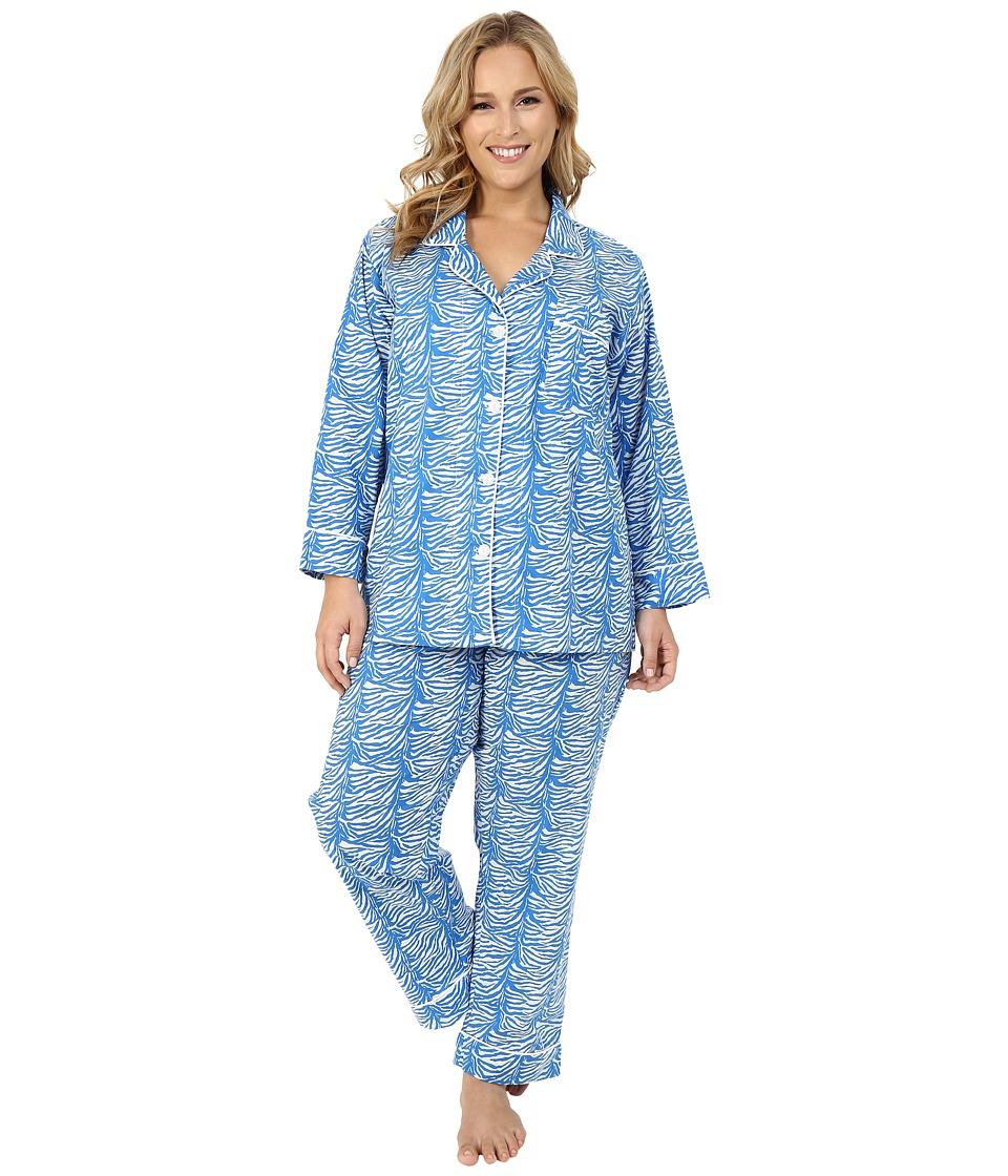 BedHead Classic Notch Collar PJ Plus Size Blue Zebra Womens Pajama Sets