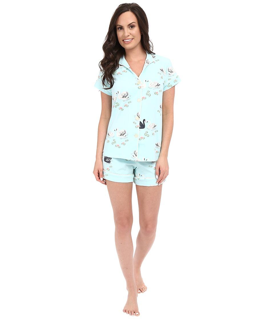 BedHead Cap Sleeve Mandarin Collar Short Set Swan Lake Womens Pajama Sets