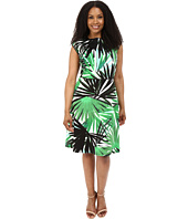 London Times - Plus Size Jungle Palm Cap Sleeve Full Skirt