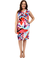 London Times - Plus Size Paint Splash Drape Neck Shift