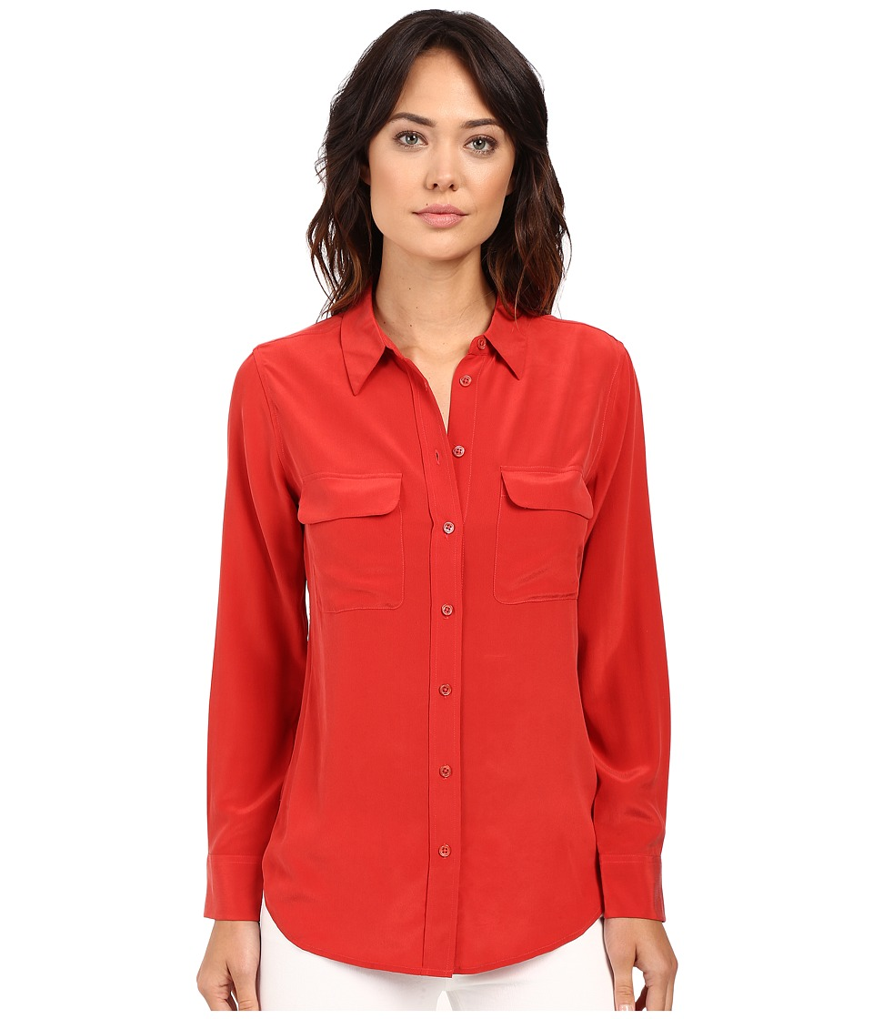 EQUIPMENT Slim Signature Blouse Aurora Red Womens Blouse