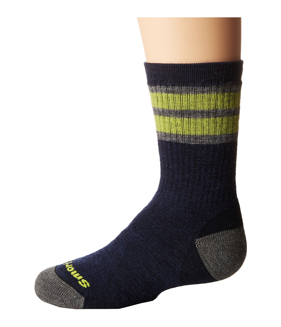 Smartwool - Striped Hike Medium Crew 3-Pack (Little Kid/Big Kid) (Navy) Crew Cut Socks Shoes