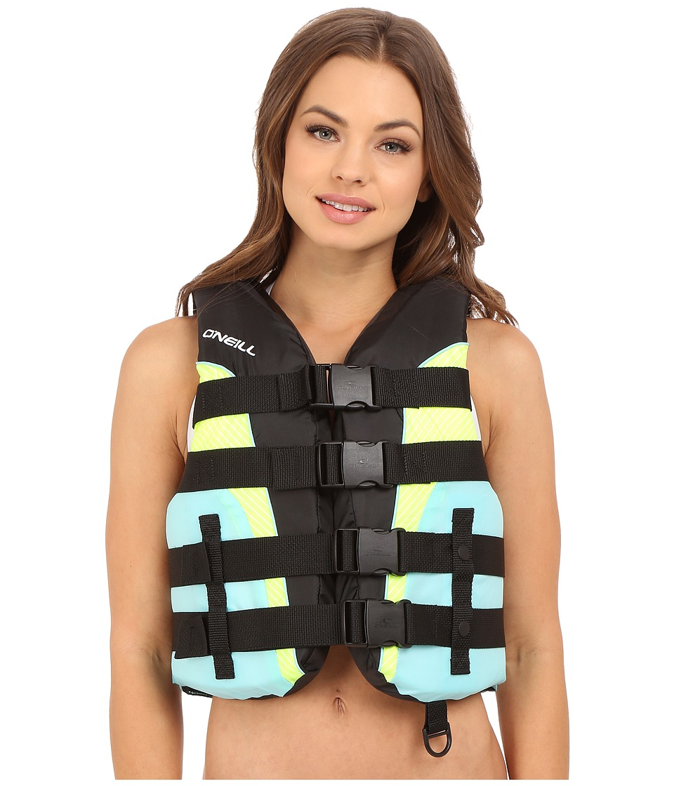 O'Neill Superlite USCG Vest (Black/Turquoise/Lime/Turquoise)