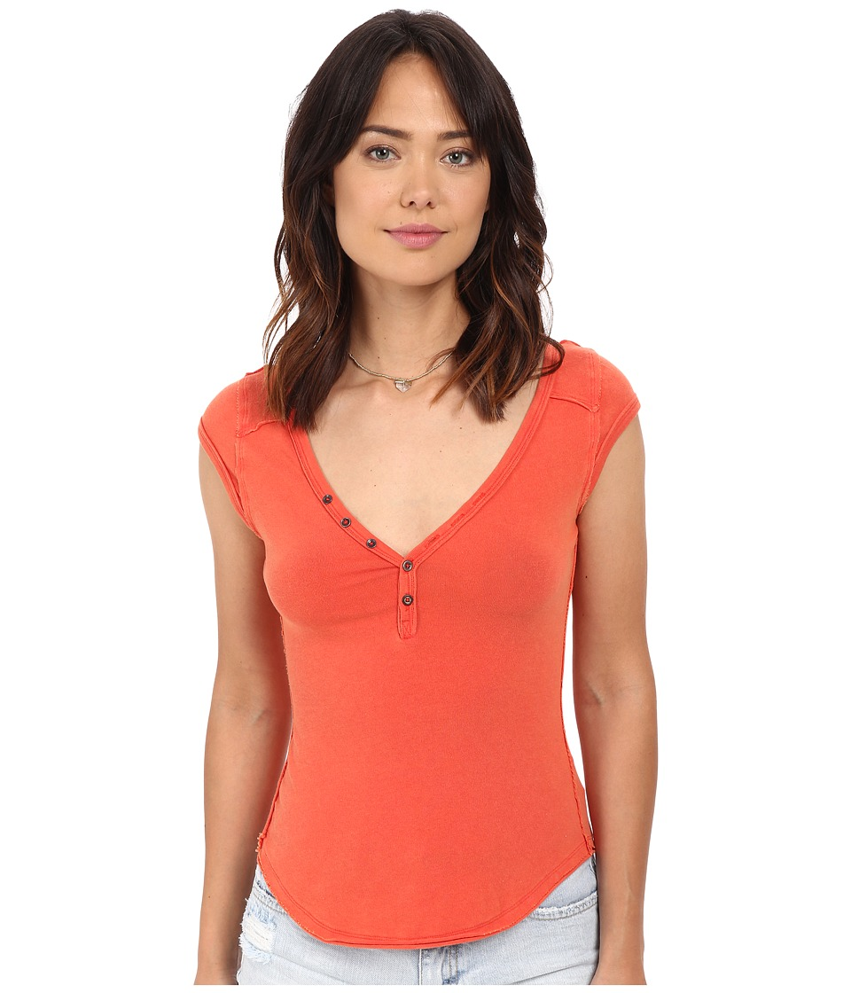 Free People Peaches Henley Papaya Womens Short Sleeve Pullover