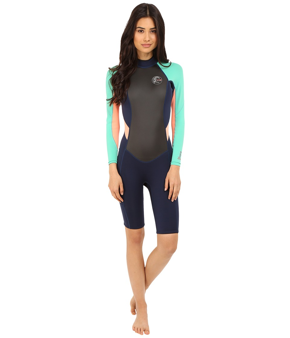 ONeill Bahia Long Sleeve Spring Navy/Seaglass/Light Grapefruit Womens Wetsuits One Piece