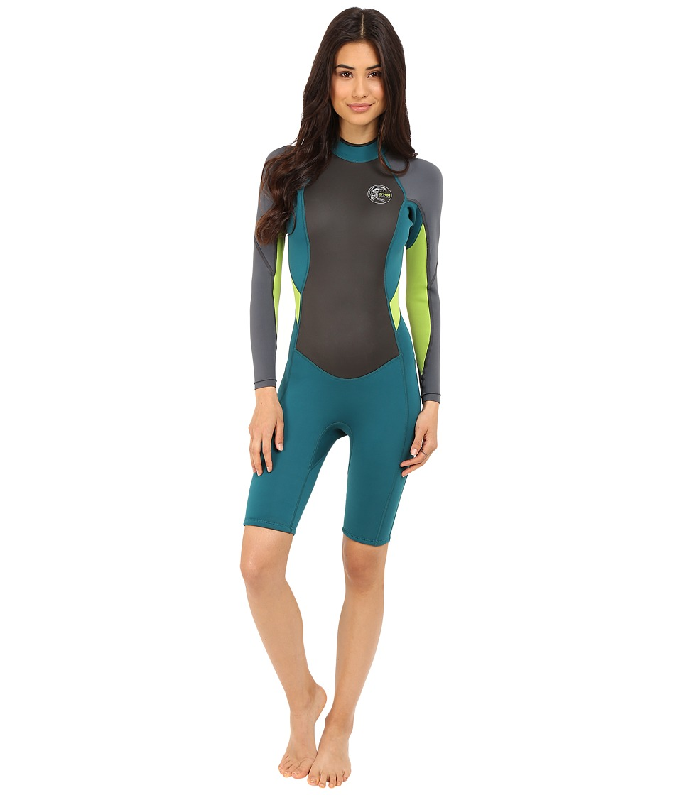 ONeill Bahia Long Sleeve Spring Deep Teal/Graphite/Lime Womens Wetsuits One Piece