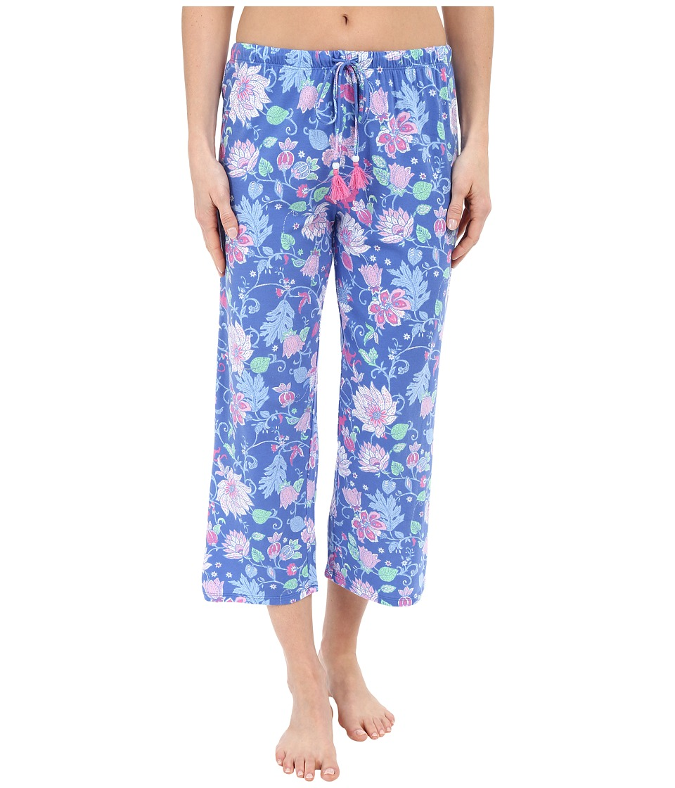 Jockey Capri Pants Blue Floral Womens Pajama