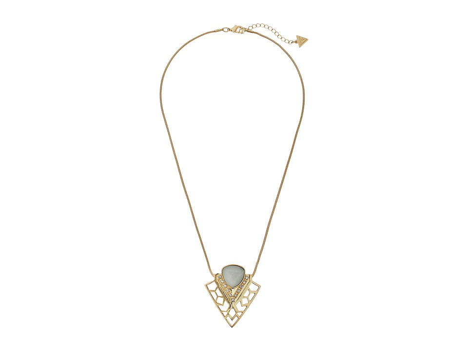 GUESS Triangle Stone Pendant Necklace Gold/Crystal/Mint Necklace