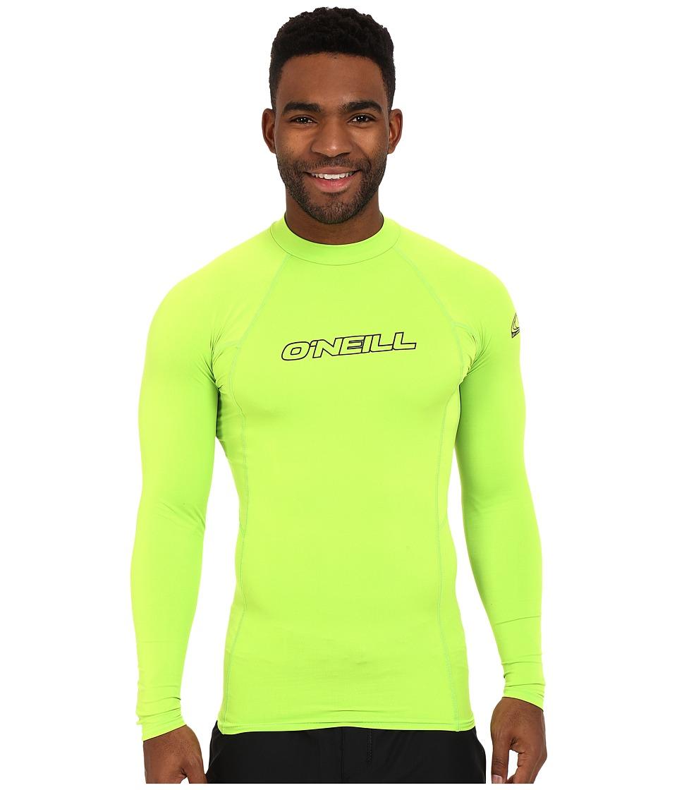ONeill Basic Skins L/S Crew Lime Mens Swimwear