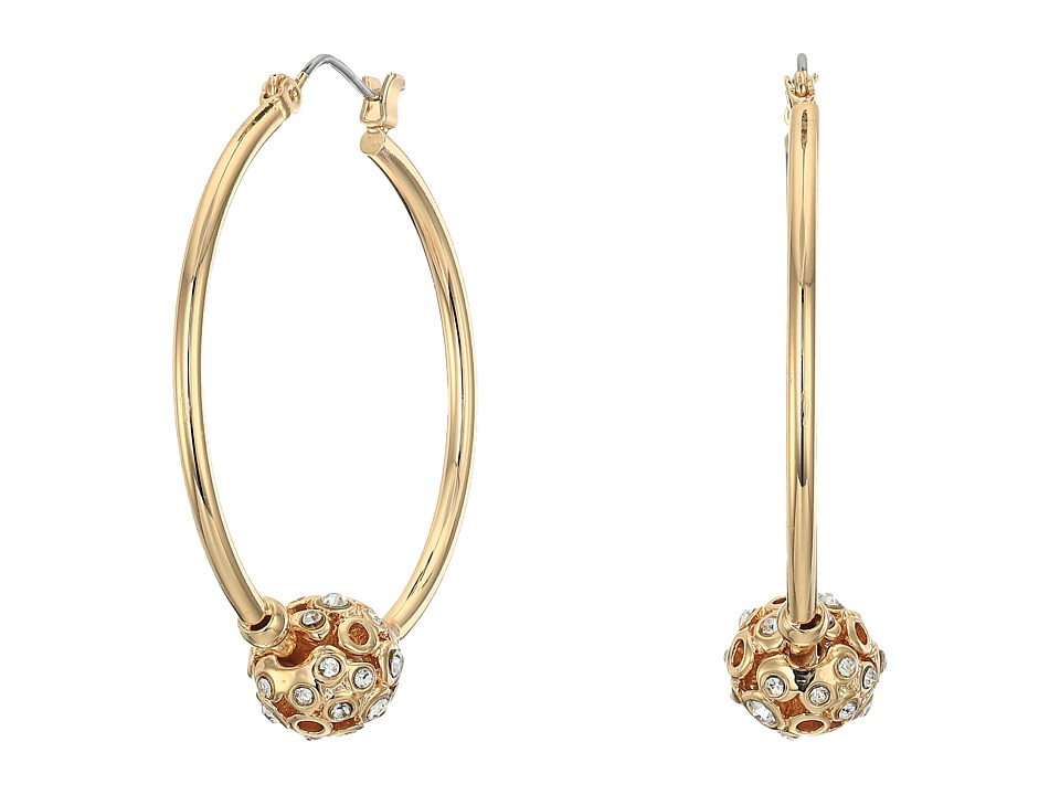 GUESS Hoop with Stone Ball on Hoop Earrings Gold/Crystal Earring