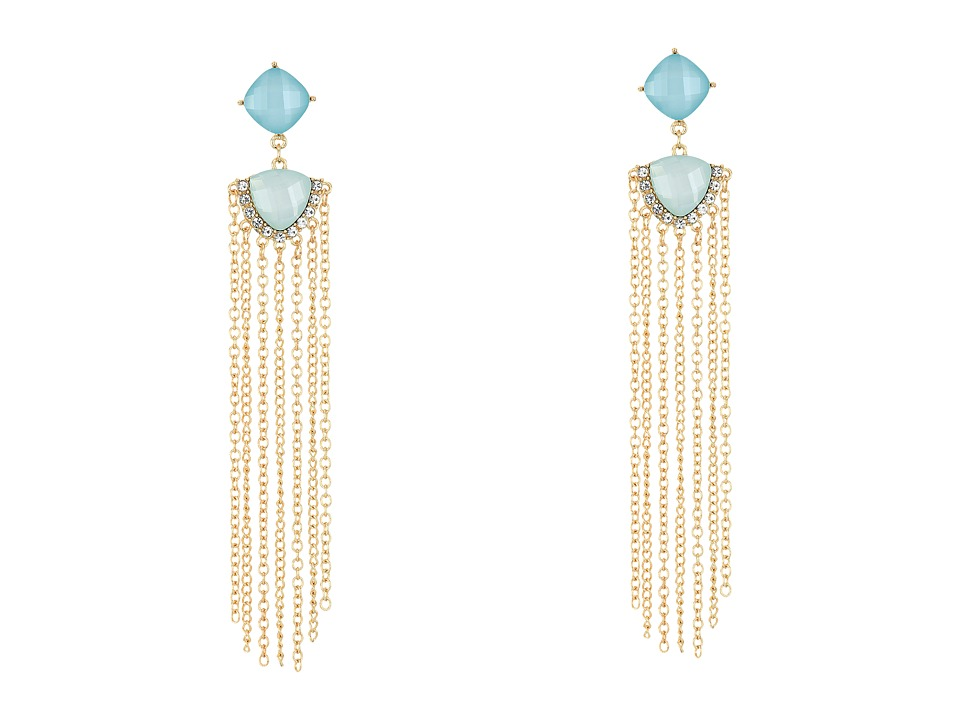 GUESS Stone Drop with Chain Fringe Earrings Gold/Crystal/Mint Earring
