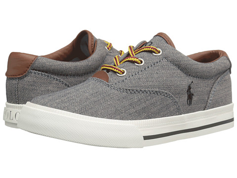 Polo Ralph Lauren Kids Vaughn II (Little Kid) - Grey Chambray Herringbone/Grey Pony