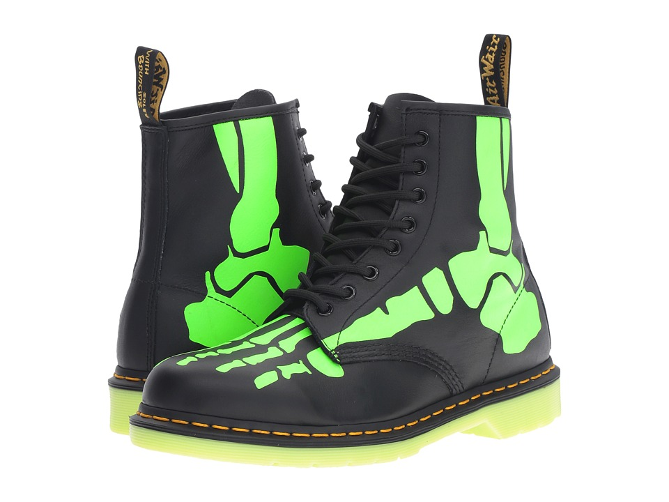 Dr. Martens Skelly 8-Eye Boot (Black Softy T/Glow In The Dark Print) Lace-up Boots