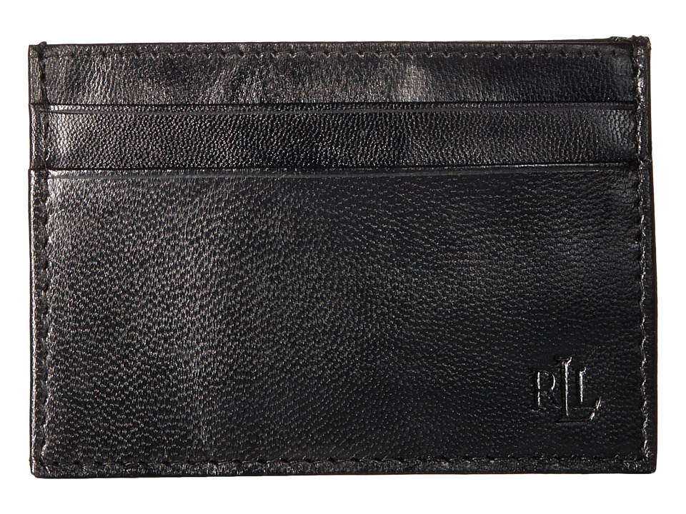 LAUREN Ralph Lauren - Burnished Card Case w/ Money Clip (Black) Wallet Handbags