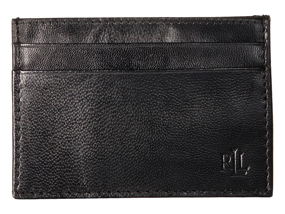LAUREN Ralph Lauren - Burnished Card Case w/ Money Clip (Black) Wallet Handbags
