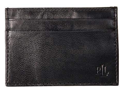 LAUREN Ralph Lauren Burnished Card Case w/ Money Clip - Black