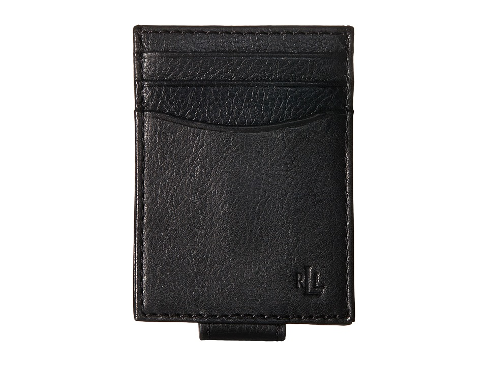 LAUREN Ralph Lauren - Oil Milled Slim Card Case (Black) Credit card Wallet