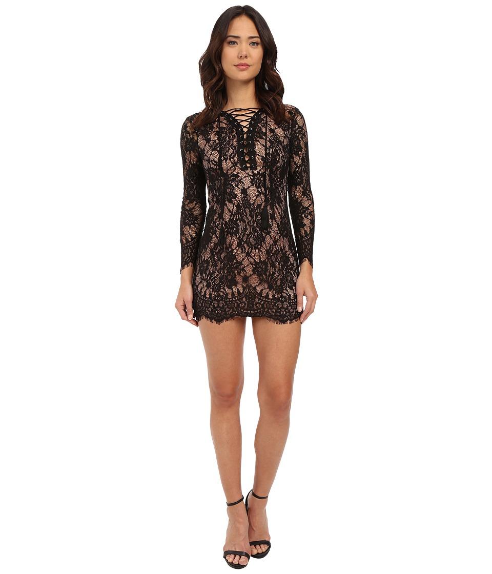 Brigitte Bailey Farrah Lace Up Lace Dress Black/Nude Womens Dress