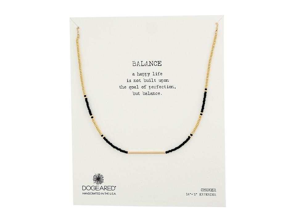 Dogeared Balance Seed Bead Bar Choker Necklace Black/Gold Necklace
