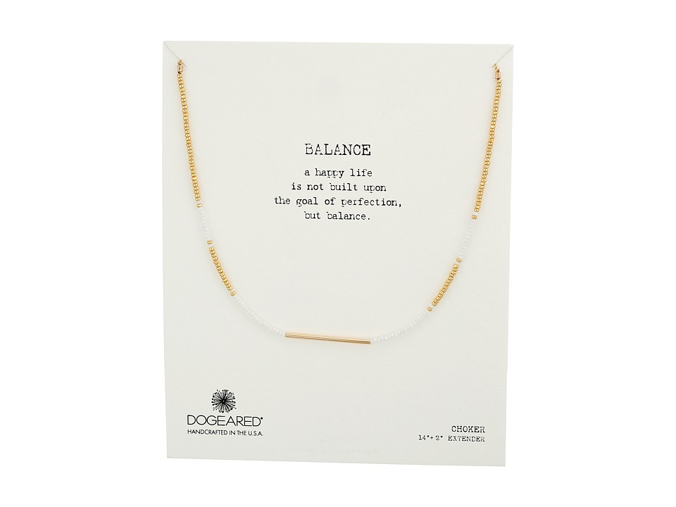 Dogeared Balance Seed Bead Bar Choker Necklace White/Gold Necklace