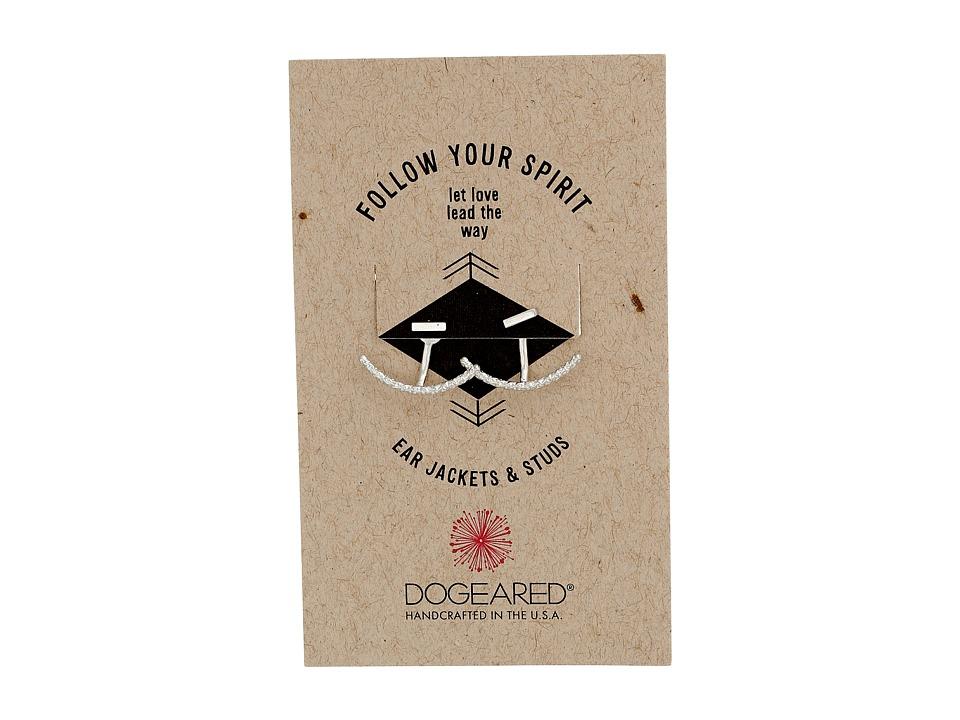 Dogeared Follow Your Spirit Sparkle Curved Bar Ear Jacket Earrings Sterling Silver Earring