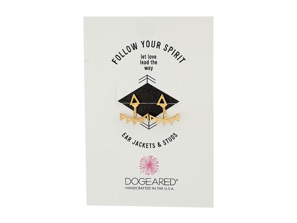 Dogeared Follow Your Spirit Multi Triangle Ear Jacket Earrings Gold Dipped Earring