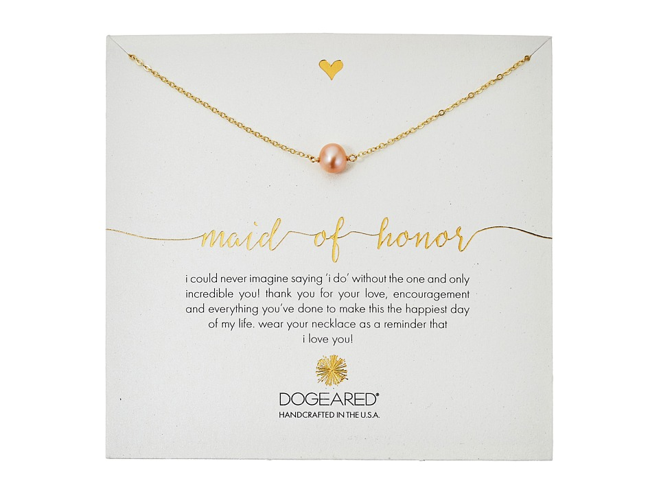 Dogeared Maid of Honor Blush Pearl Necklace Gold Dipped Necklace