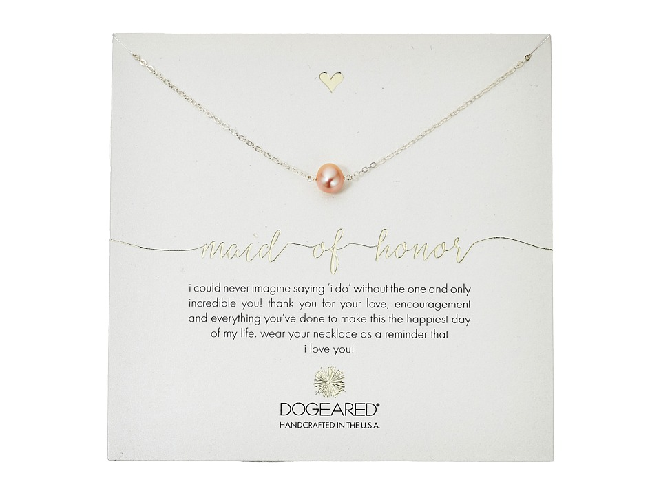 Dogeared Maid of Honor Blush Pearl Necklace Sterling Silver Necklace