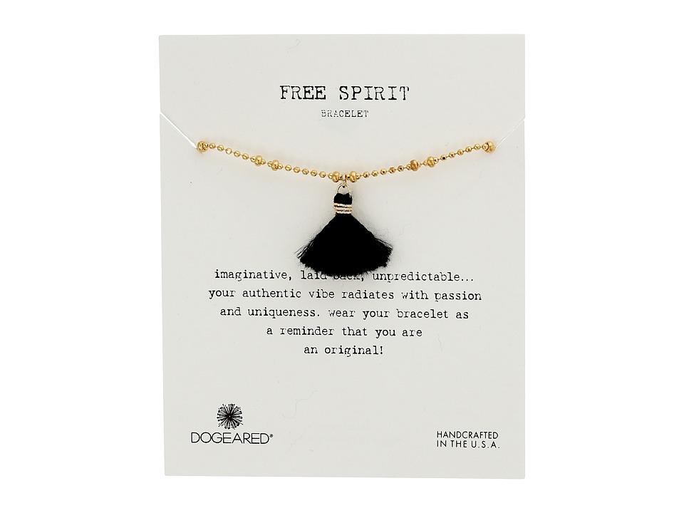 Dogeared Free Spirit Faceted Ball Chain and Tassel Bracelet Gold/Black Bracelet
