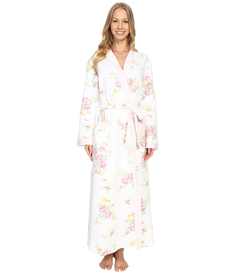 Carole Hochman Floral Quilted Robe Blushed Bouquets Womens Robe