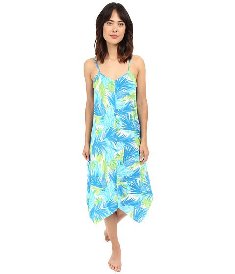 LAUREN Ralph Lauren Cotton Lawn Maxi Gown - Palm Turquoise/Navy/Green
