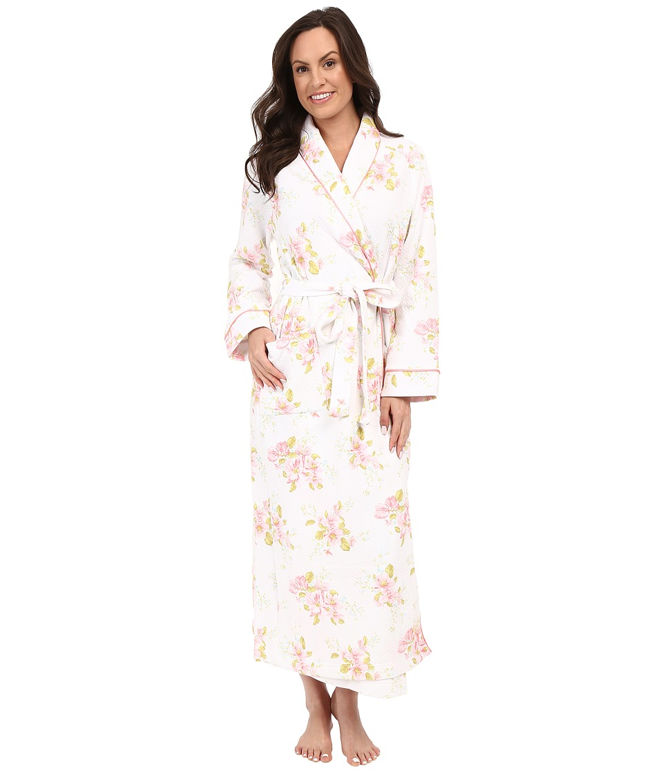 Carole Hochman Floral Diamond Quilted Robe Magnolia Blossom Womens Robe