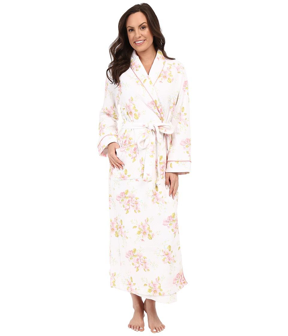 Carole Hochman Floral Diamond Quilted Robe Magnolia Blossom Womens Robe
