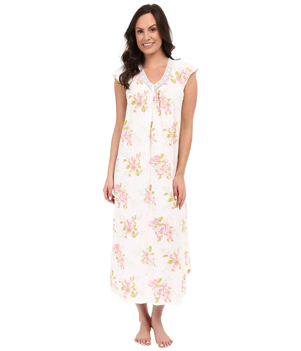 Carole Hochman Floral Long Gown with Lace Magnolia Blossom Womens Pajama