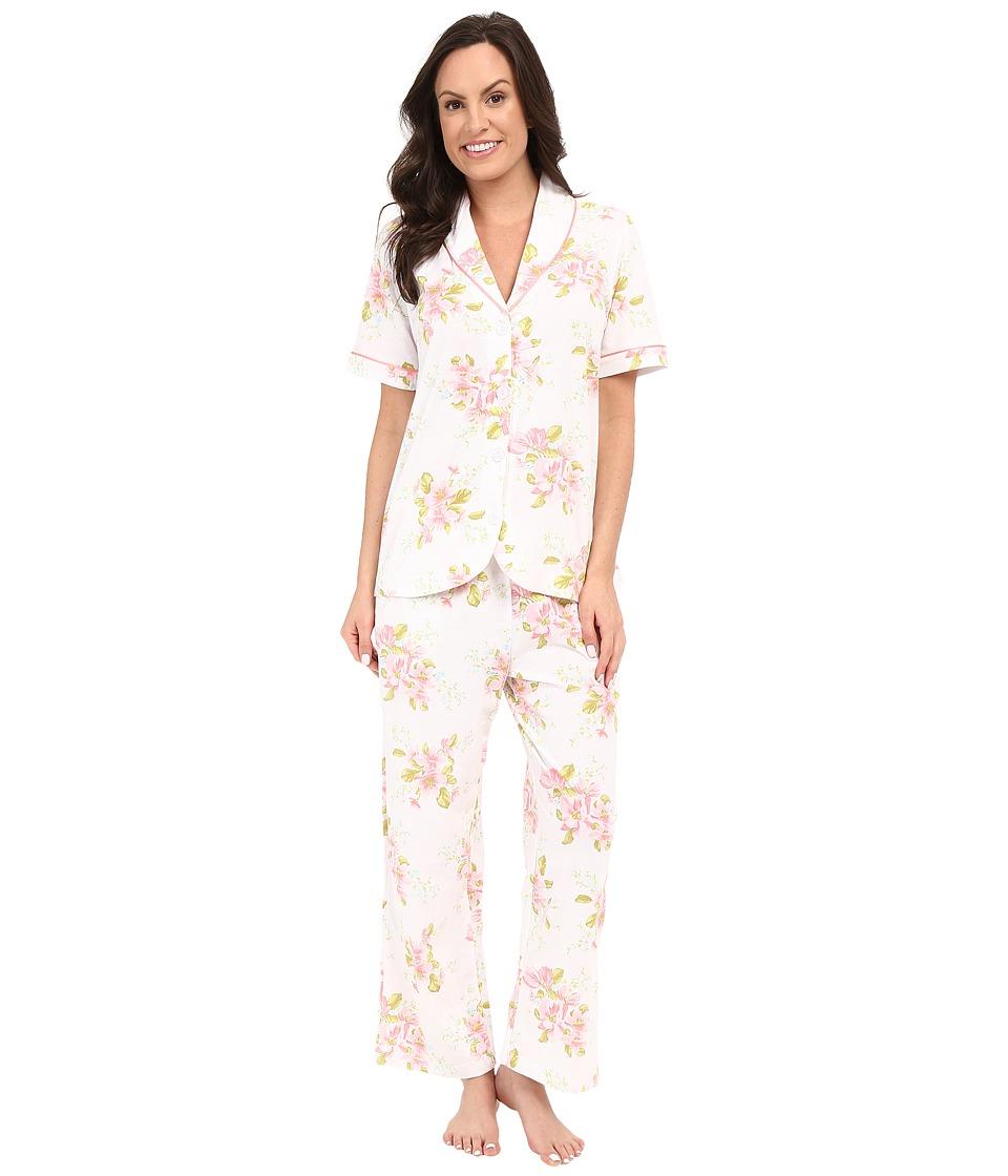 Carole Hochman Floral Cotton Capris Pajama Magnolia Blossom Womens Pajama Sets